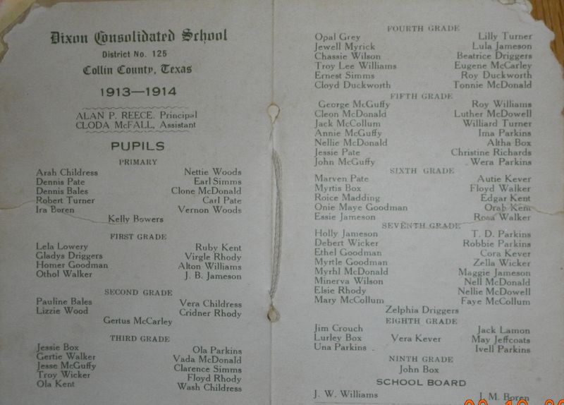 Frognot School Roster